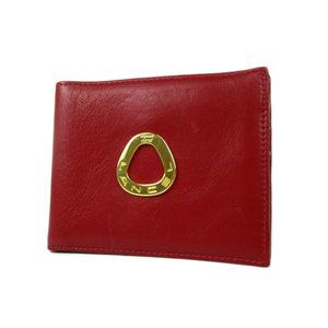 Authentic Lancel Logo Leather Wallet Bi-fold Purse Red Italy
